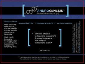 AndroGenesis Natural Testosterone Gel Product Label