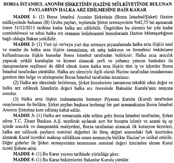 Borsa İstanbul Halka Arz Kararı
