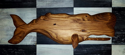 Hand carved sperm whale 23 inches long