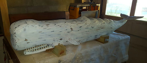 Hand Carved 3D Sperm Whale 6 feet long