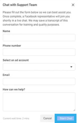מסך פתיחת הצ'ט עם נציג פייסבוק
