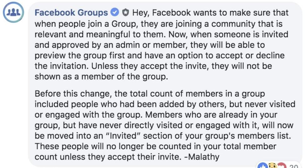 התגובה הרשמית של פייסבוק בקבוצת האדמינים העולמית