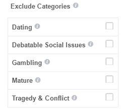 exclude catagories - סינון מיקומים לא מתאימים - המדריך המלא לפייסבוק
