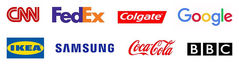 לוגו פדאקס, לוגו קולגייט, לוגו גוגל, לוגו איקאה, לוגו סמסונג, לוגו קוקה קולה, לוגו בי בי סי, לוגו סי אן אן, BBC LOGO, CNN LOGO, FedEx LOGO, Google LOGO, Ikea LOGO, Samsung LOGO, Colgate LOGO, Coca-Cola LOGO