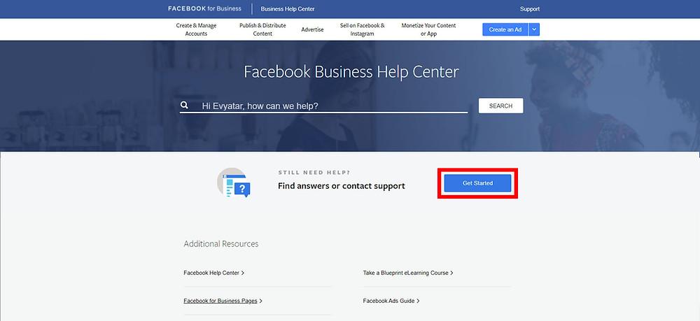 פתיחת צ'ט עם נציג ממרכז התמיכה של פייסבוק