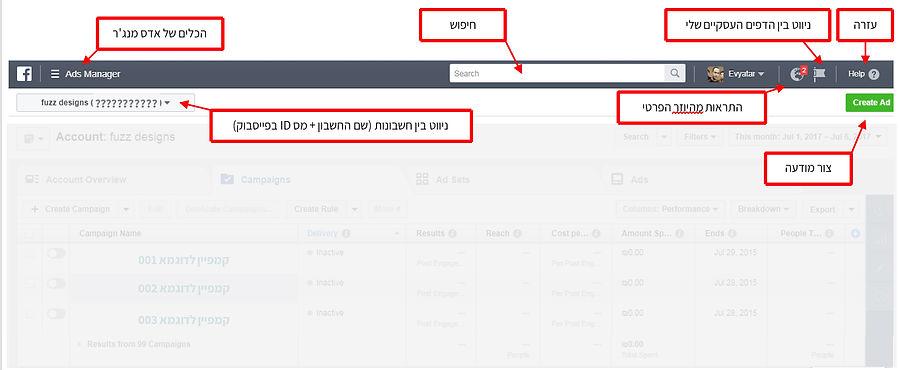 התמצאות תפריט עילי - המדריך המלא לפייסבוק