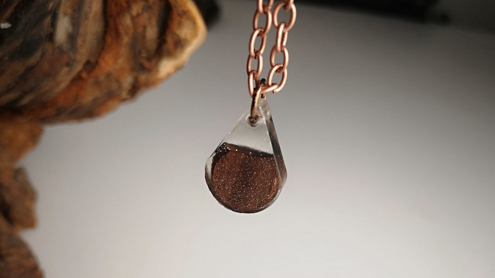 Black Walnut + Clear Resin Teardrop Pendant