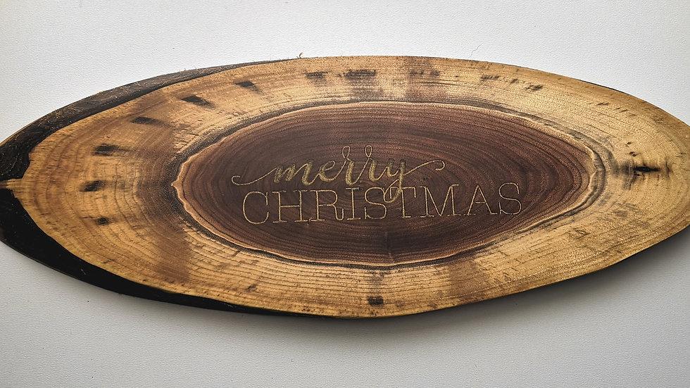 """19.75"""" x 7"""" Black Walnut w Merry Christmas Resin Inlay"""