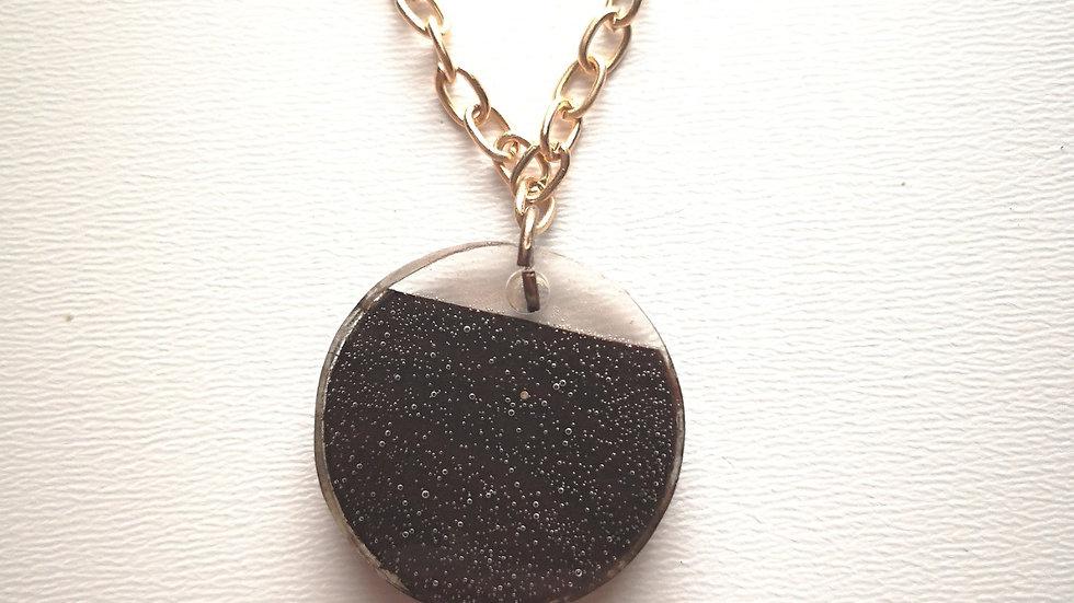 Black Walnut + Clear Resin w Bubbles Pendant
