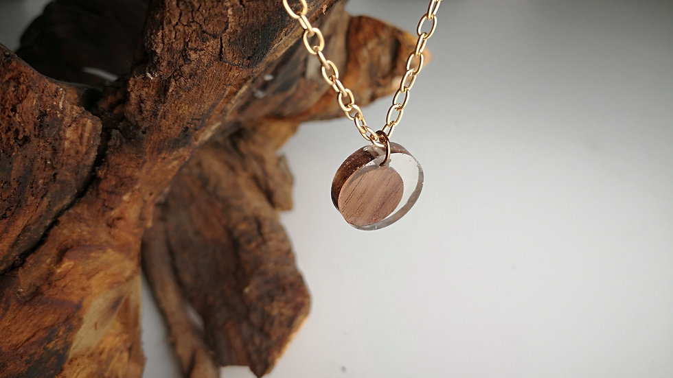 Black Walnut + Clear Resin Circle Pendant