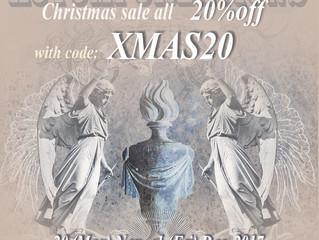 First ever Christmas Sale - 20%off - at Etsy shop.  20 Nov - 1 Dec 2017.