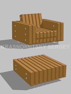 Серия 01 Парковое кресло и столик-1-Water-1