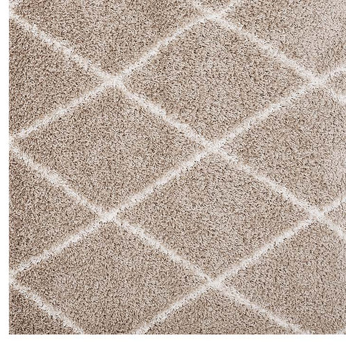 Beige & Ivory Lattice Diamond Shag Rug