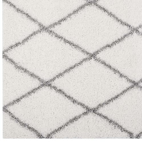 Ivory & Gray Lattice Diamond Shag Rug