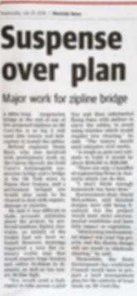 Westside News Suspense over plan Major work for zipline bridge July 25, 2018