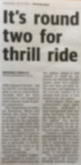 Westside News article by Brendan O'Malley Wednesday July 18, 2018. It's round two for thrill ride.