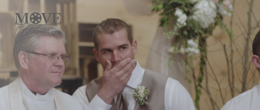 groom sees his bride for the first time - Missouri Wedding videography