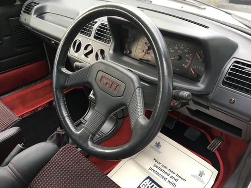 White Peugeot 205 GTI Interior