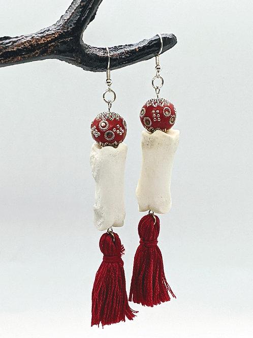 Wild Boar Phalange Earrings with Red Bead & Tassel
