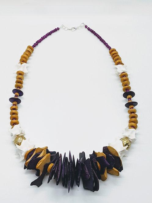 Burmese Python Vertebrae Necklace with Wood Chips & Beads Purple