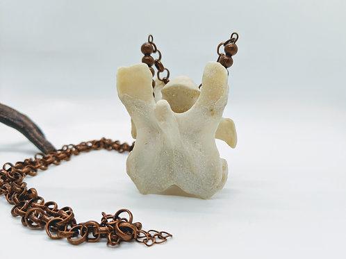 Deer Cervical Vertebrae Necklace with Antique Copper Chain