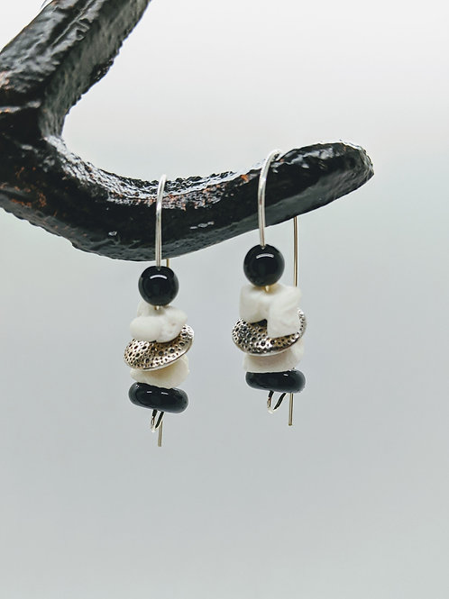 Softshell Turtle Carpal Earrings with Black Beads