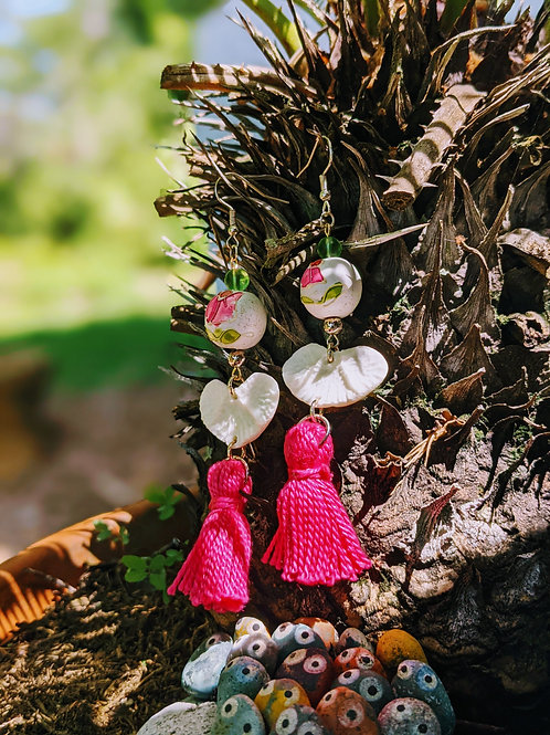Wild Boar Vertebral End Cap Earrings with Pink Tassel and Wood Bead