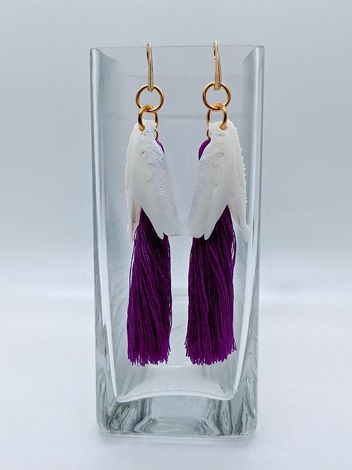 Crevalle Jack Earrings w/Purple Tassel Gold