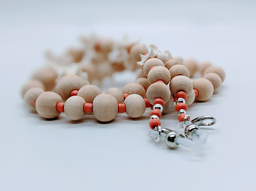 Burmese Python Vertebrae Mask/Eyeglass Chain Wood & Coral Colored Bead