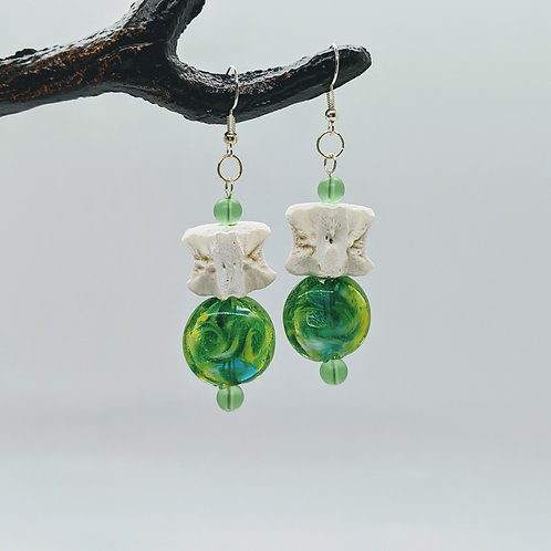 Wild Boar Vertebral Centrum Earrings with Green Coin Bead