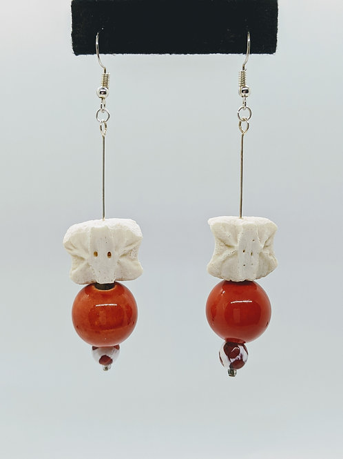 Wild Boar Vertebral Centrum Earrings With Orange Bead