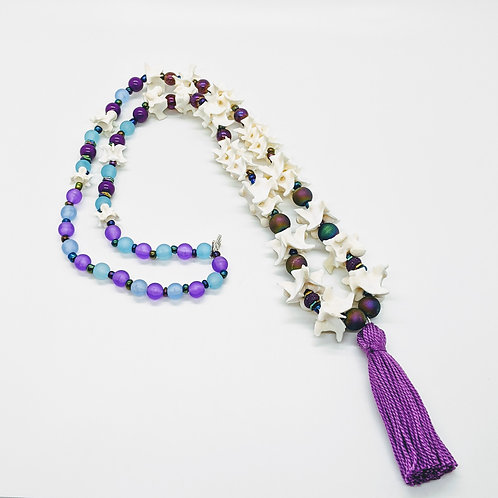 Burmese Python Vertebrae Necklace with Purple Bead and Tassel