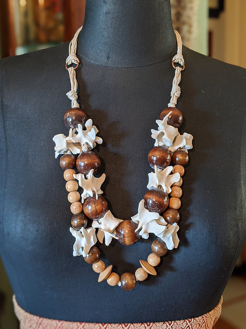 Raccoon Lumbar Vertebrae Double Drop Necklace with Wood Beads