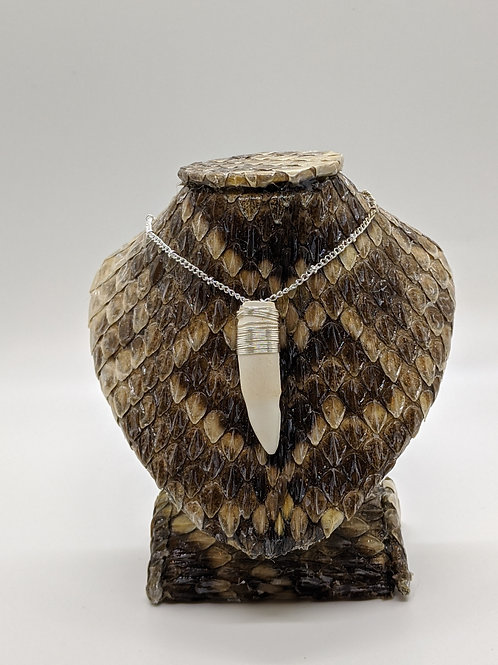 """American Alligator Tooth Wrapped  18"""" 925 Silver Plated Chain"""