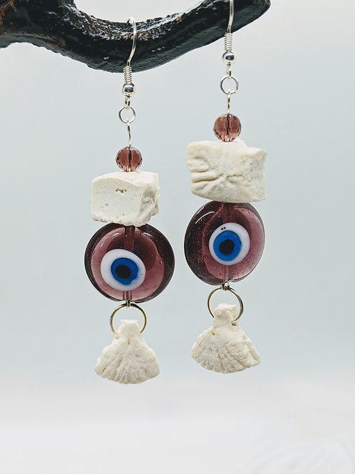 Wild Boar Vertebral Centrum Earrings with Evil Eye Lampwork Bead Purple