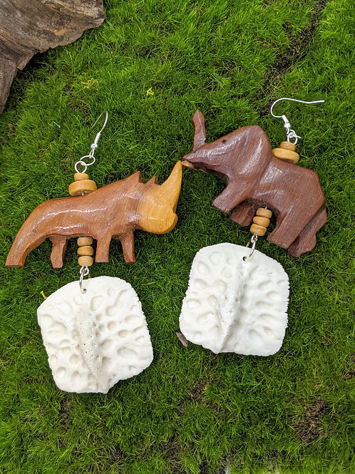 Alligator Osteoderm Earrings with Large Wooden Animal Bead