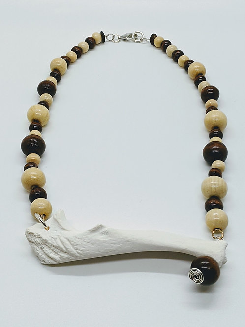 Wild Boar Ulna Necklace with Wood Beads