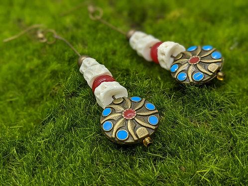 Bullhead Catfish Vertebrae Earrings with Blue &Red Coin Bead Antique Brass