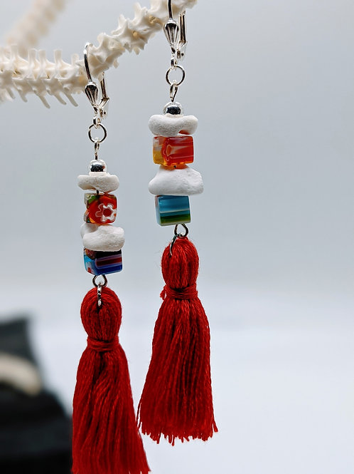 Wild Boar Carpal and Phalanges Earrings with Multi Millefiori Cube & Red Tassel
