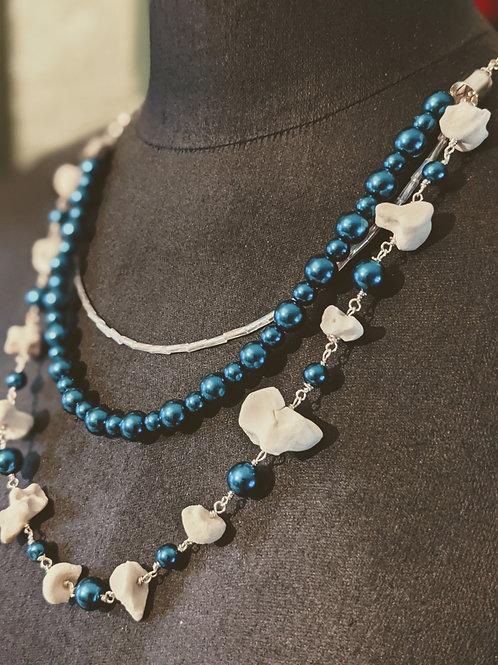 Wild Boar Carpal & Phalanges Triple Drop Necklace Blue Pearl