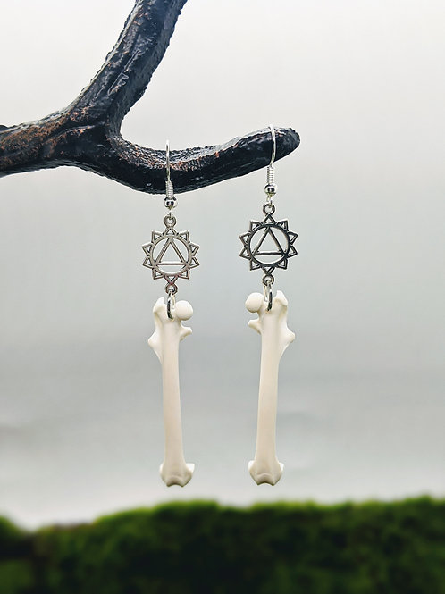 Squirrel Femur Earrings with Seed of Life Pendant Silver