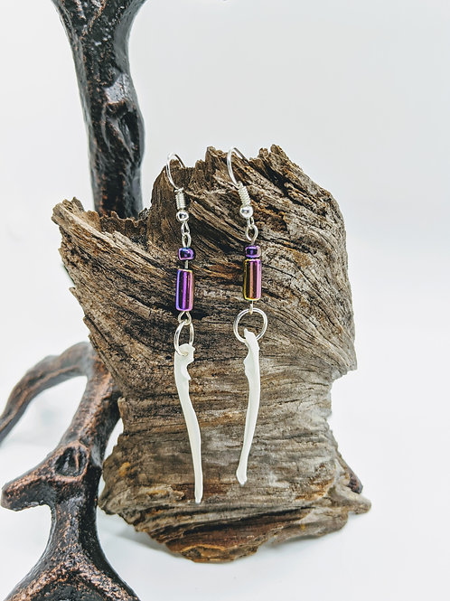 Squirrel Ulna w/Iridescent Tube Bead Earrings