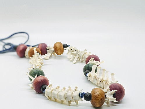 Armadillo Thoracic Vertebrae Necklace Tribal Inspired with Wood Beads
