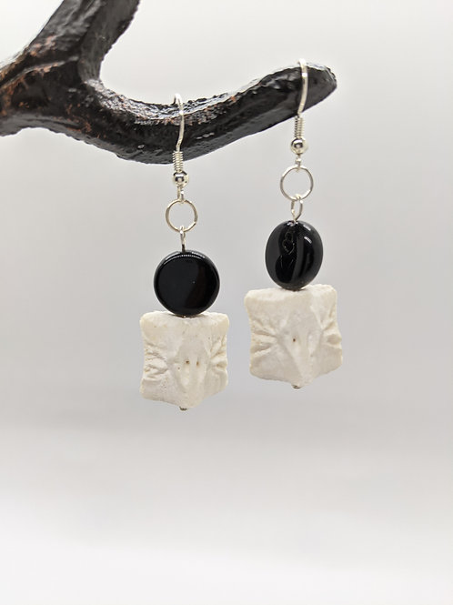 Wild Boar Vertebral Centrum Earrings with Small Black Coin Bead
