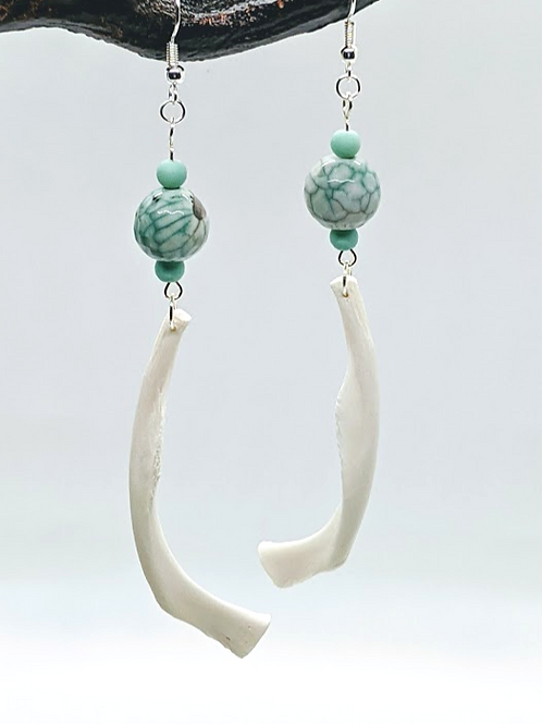 Softshell Turtle Hyoid Earrings with Green Marble Bead