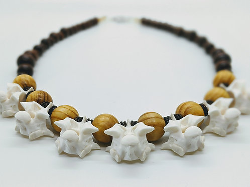 Burmese Python Vertebrae Necklace w/Wood Beads and Wood Disk
