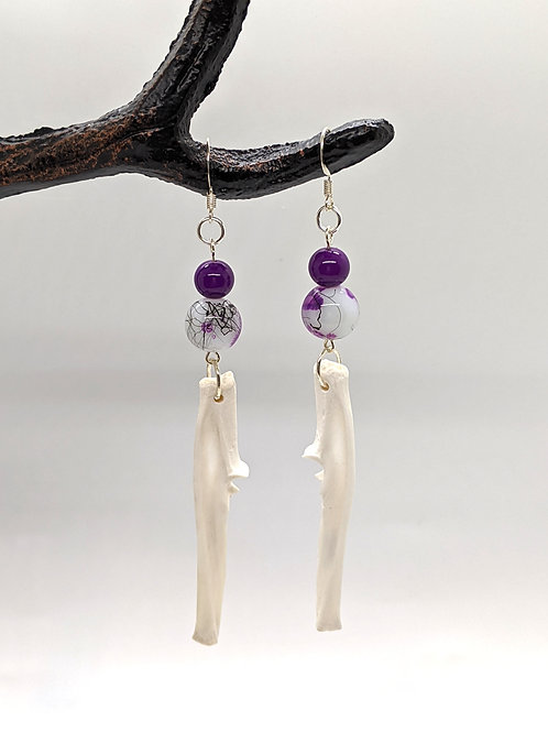 Armadillo Ulna Earrings w/purple beads