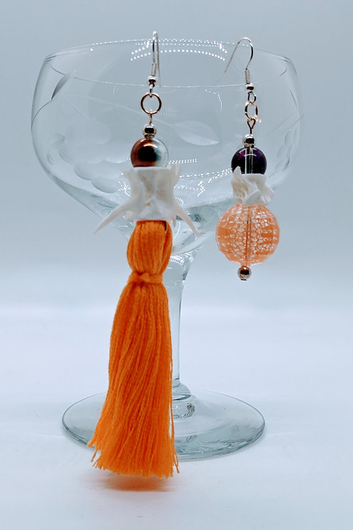 Crevalle Jack Vertebrae Mismatched Earrings w/Tangerine Tassel