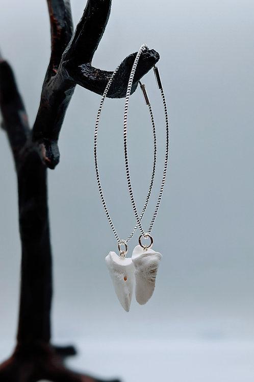 Wild Boar Coffin Bone Marquise Diamond Shaped Hoops