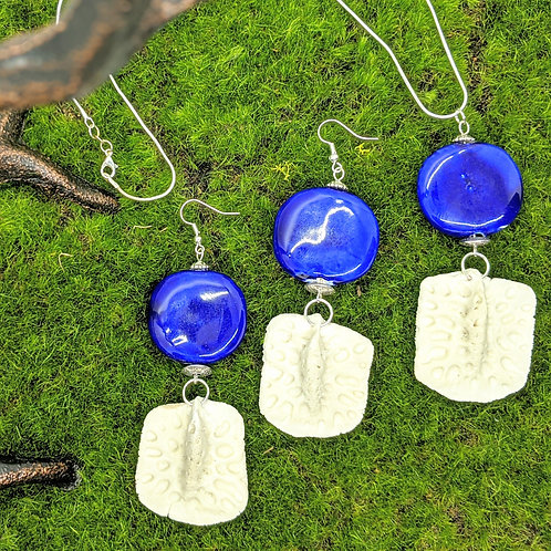 American Alligator Osteoderm Earrings & Necklace Set w/ Large Ceramic Coin Bead